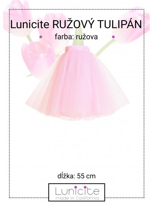Lunicite RŮŽOVÝ TULIPÁN – exkluzivní tylová sukně bledě růžová, délka 55cm