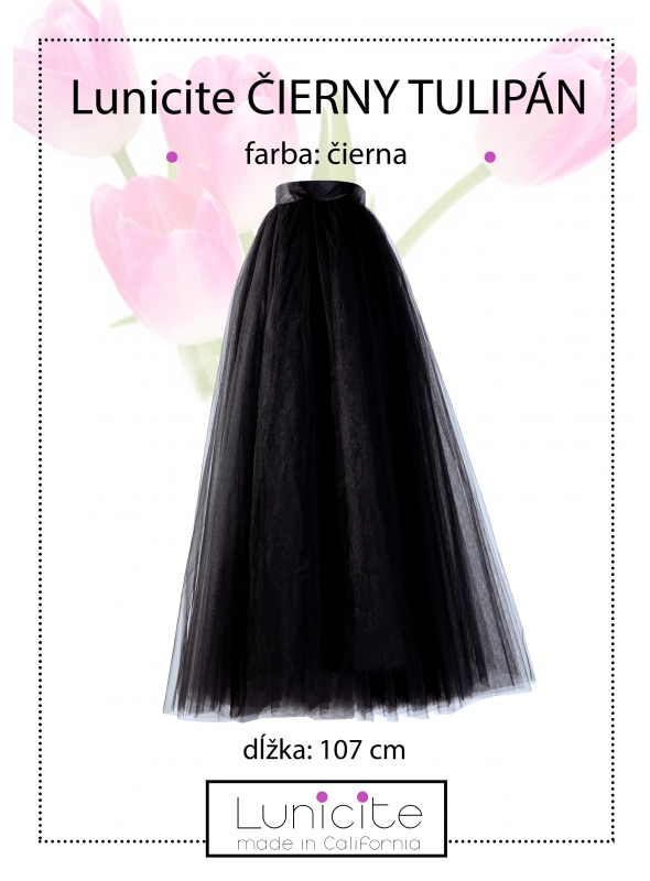 Lunicite ČIERNY TULIPÁN – exkluzívna tylová sukňa čierna, 107cm