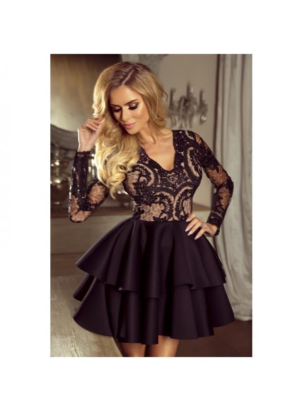 Mini šaty LILI, čierne s telovou podšívkou