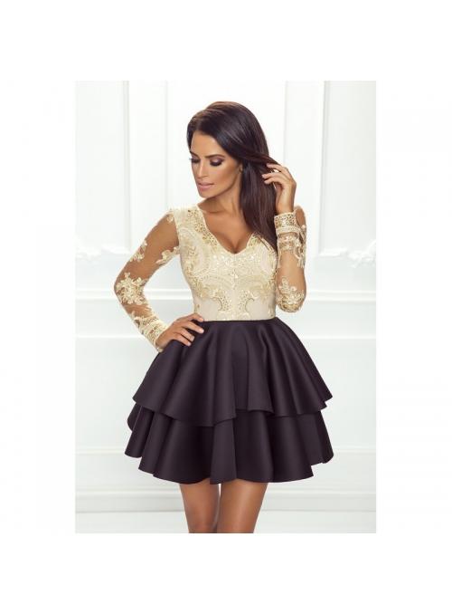 Mini šaty LILI, čierno krémové