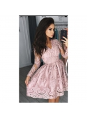 Mini šaty CARMEN s dlhým rukávom, pudrovo ružové