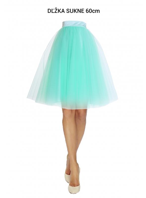 Lunicite MENTOLOVÝ TULIPÁN – exkluzívna tylová sukňa mentolová, 60cm