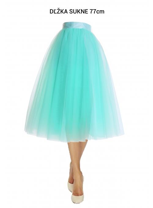 Lunicite MENTOLOVÝ TULIPÁN – exkluzivní tylová sukně mentolová, 77cm