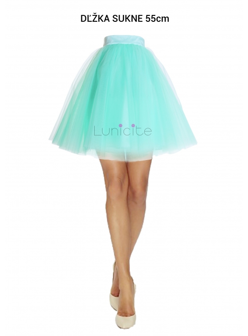 Lunicite MINT TULIP - exclusive tulle skirt menthol, length 55 cm