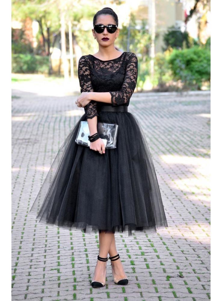 f6f593194c31 Lunicite ČIERNY TULIPÁN – exkluzívna tylová sukňa čierna