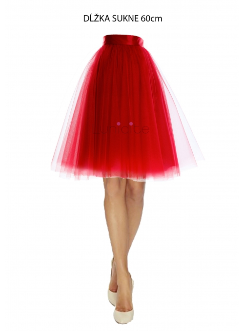 Lunicite RED TULIP - exclusive tulle skirt red