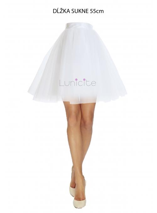 Lunicite BÍLÝ TULIPÁN - exkluzivní tylová sukně krémově bílá, délka 55cm