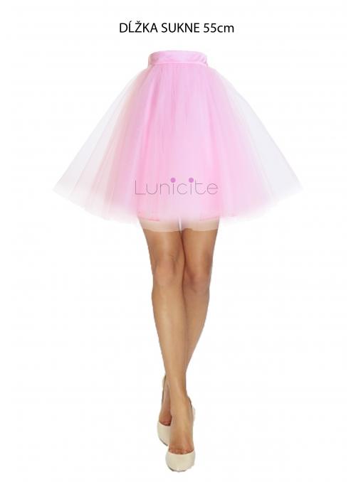 Lunicite RŮŽOVÝ TULIPÁN - exkluzivní tylová sukně bledě růžová, délka 55cm