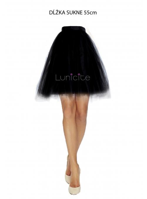 Lunicite ČIERNY TULIPÁN – exkluzivní tylová sukně černá, délka 55cm
