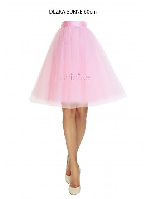 Lunicite RŮŽOVÝ TULIPÁN - exkluzivní tylová sukně bledě růžová, délka60cm