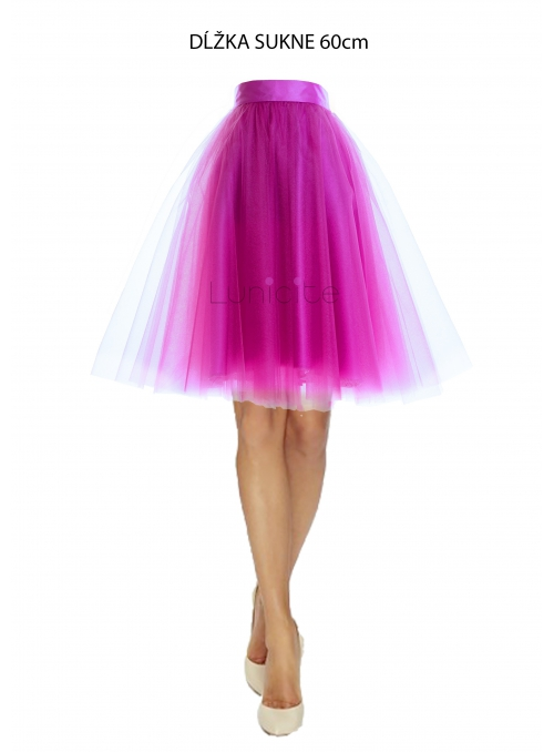 Lunicite  ZÁŘIVÝ TULIPÁN LILA - exkluzivní tylová sukně zářivá lila, 60 cm