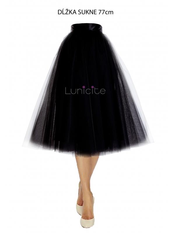 Lunicite ČIERNY TULIPÁN – exkluzívna tylová sukňa čierna, 77cm