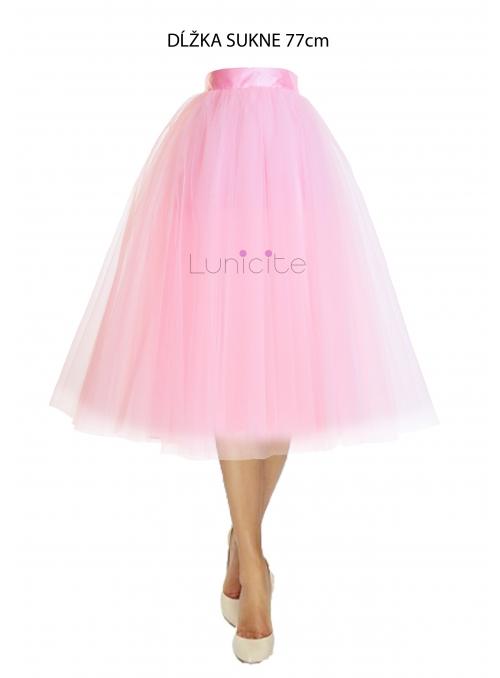 Lunicite RŮŽOVÝ TULIPÁN - exkluzivní tylová sukně bledě růžová, délka 77cm