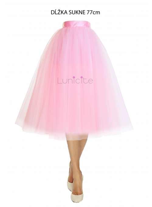 Lunicite PINK TULIP - exclusive tulle skirt pale pink, 77 cm