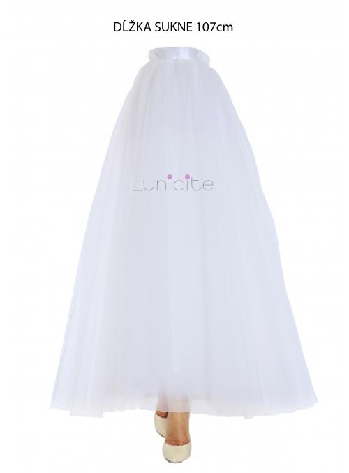 Lunicite BÍLÝ TULIPÁN - exkluzivní tylová sukně krémově bílá, délka 107cm