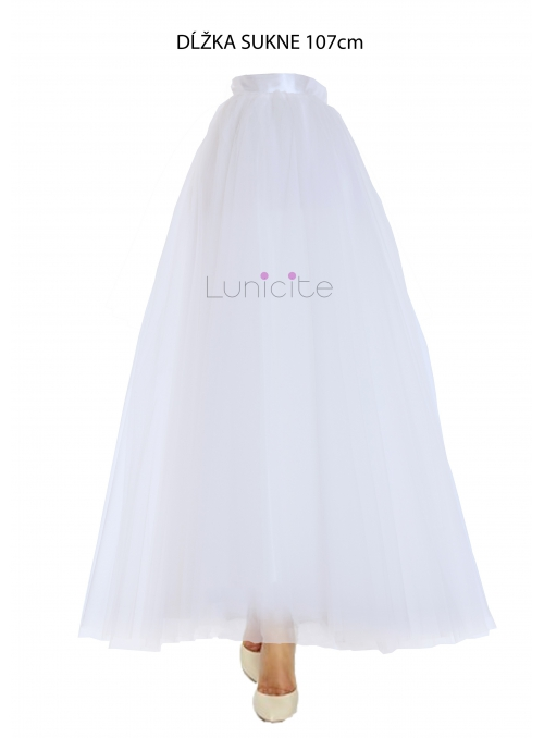 Lunicite WHITE TULIP - exclusive tulle skirt creamy white, 107 cm