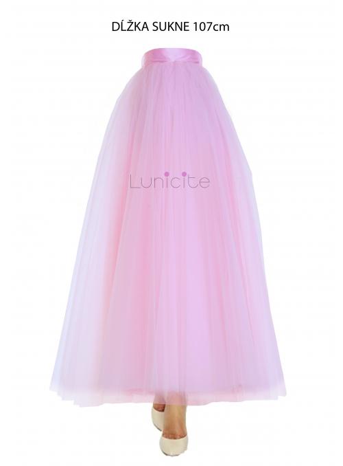 Lunicite RŮŽOVÝ TULIPÁN - exkluzivní tylová sukně bledě růžová, délka 107cm