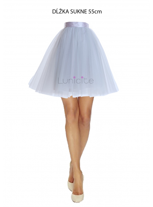 Lunicite GRAY TULIP - exclusive tulle skirt silvery gray, length 55 cm