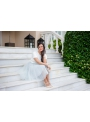 Lunicite ŠEDÝ TULIPÁN – exkluzívna tylová sukňa striebristo šedá, dĺžka 55cm