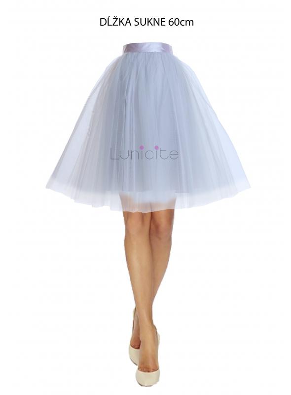 Lunicite ŠEDÝ TULIPÁN – exkluzívna tylová sukňa striebristo šedá, 60cm
