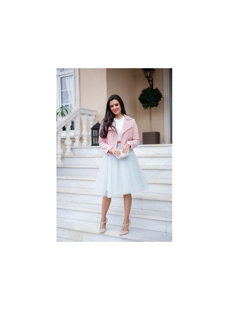 ... Lunicite ŠEDÝ TULIPÁN – exkluzívna tylová sukňa striebristo šedá 9b15221851