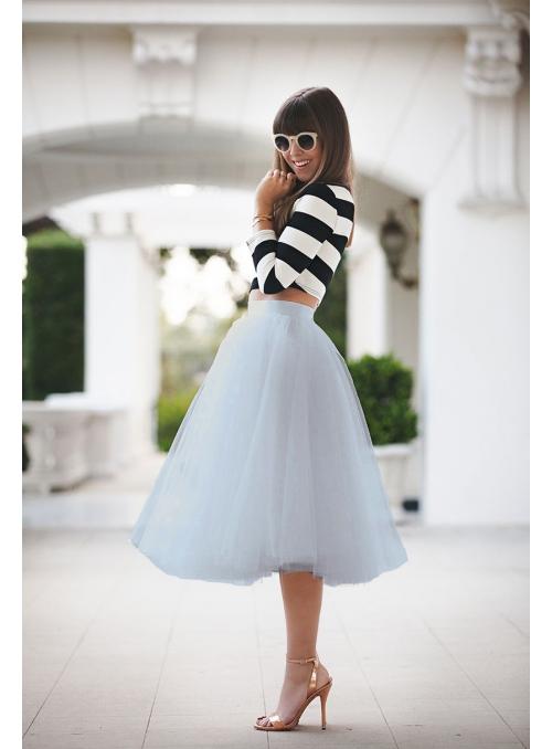 Lunicite ŠEDÝ TULIPÁN – exkluzívna tylová sukňa striebristo šedá, 77cm