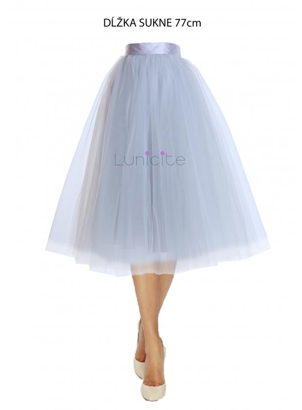Lunicite ŠEDÝ TULIPÁN - exkluzivní tylová sukně stříbřitě šedá ... 546a0a1805