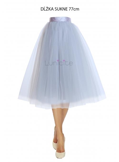 Lunicite ŠEDÝ TULIPÁN – exkluzivní tylová sukně stříbrno šedá, 77cm