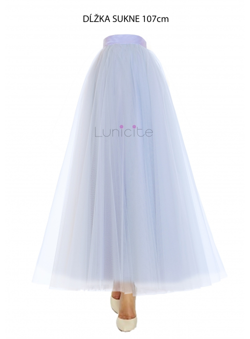 Lunicite ŠEDÝ TULIPÁN –  exkluzivní tylová sukně stříbrno šedá, 107cm