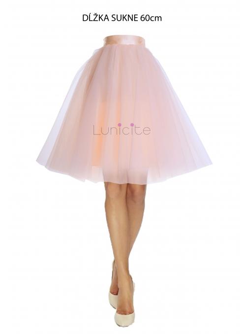 Lunicite BROSKVOVÝ TULIPÁN –exkluzivní tylová sukně broskvová, 60cm