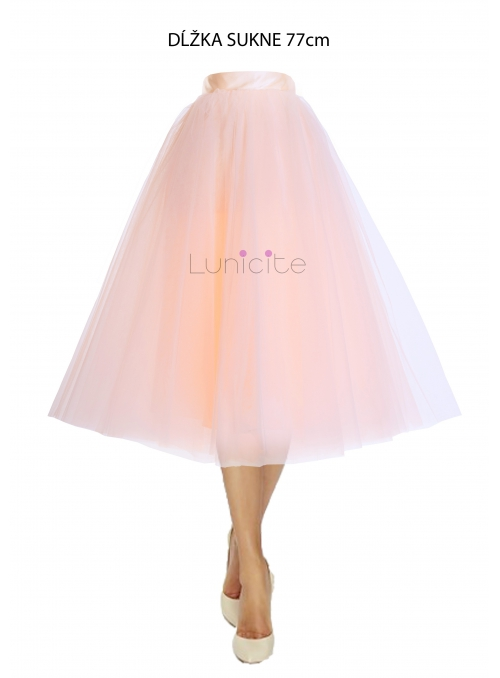 Lunicite BROSKYŇOVÝ TULIPÁN – exkluzívna tylová sukňa broskyňová, 77cm
