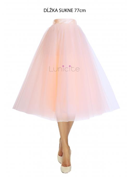 Lunicite BROSKVOVÝ TULIPÁN – exkluzivní tylová sukně broskvová, 77cm