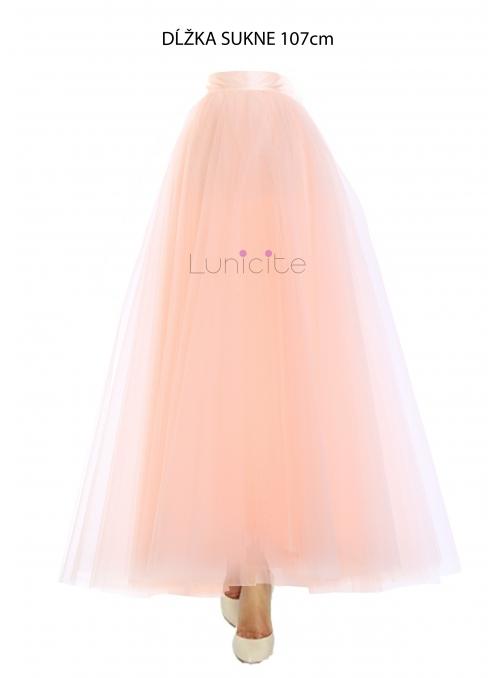 Lunicite BROSKVOVÝ TULIPÁN - exkluzivní tylová sukně broskvová,107cm