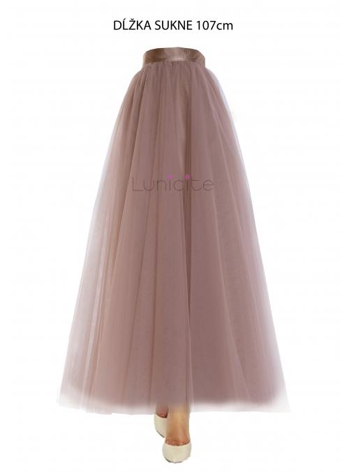 Lunicite  CAPPUCCINO TULIPÁN - exkluzivní tylová sukně cappuccino, 107cm