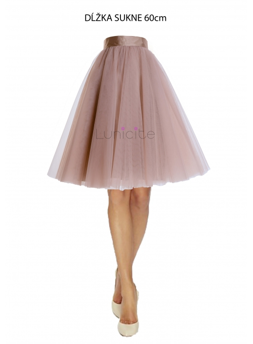 Lunicite  CAPPUCCINO TULIPÁN - exkluzivní tylová sukně cappuccino, 60cm