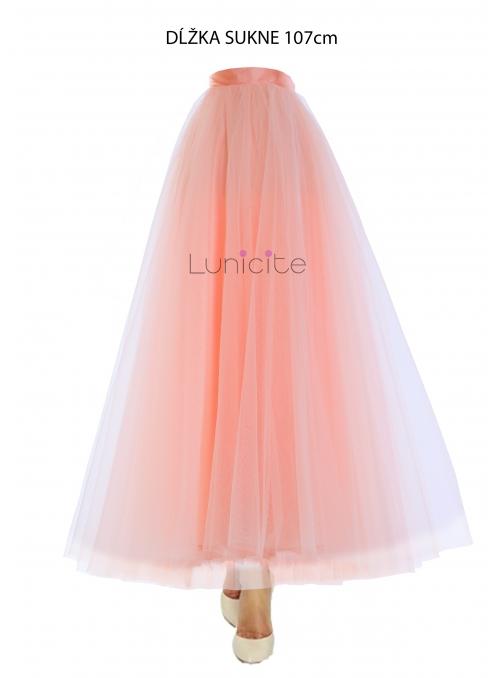 Lunicite PUDROVÝ TULIPÁN – exkluzívna tylová sukňa pudrovo ružová, dĺžka 107cm