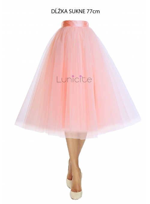 Lunicite POWDER TULIP - exclusive tulle skirt powdery pink, length 77 cm