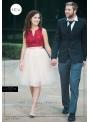 Lunicite PUDROVÝ TULIPÁN – exkluzívna tylová sukňa pudrovo ružová, dĺžka 60cm