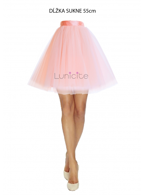 Lunicite POWDER TULIP - exclusive tulle skirt powdery pink, length 55 cm