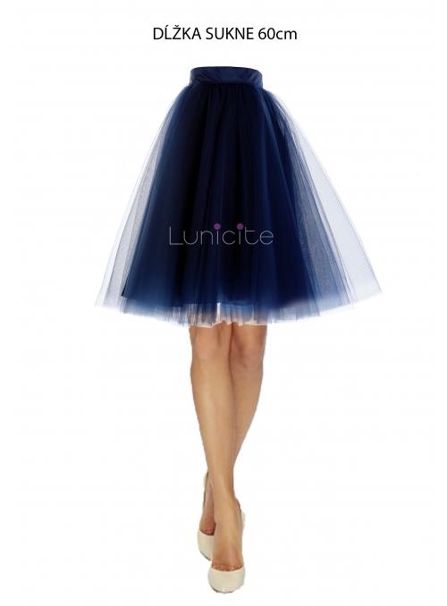 Lunicite MODRÝ TULIPÁN – exkluzívna tylová sukňa tmavomodrá, dĺžka 60cm