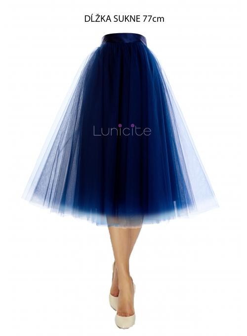 Lunicite MODRÝ TULIPÁN - exkluzivní tylová sukně tmavě modrá, délka 77cm