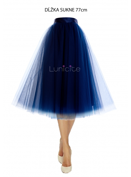 Lunicite BLUE TULIP - exclusive tulle skirt dark blue, length 77 cm