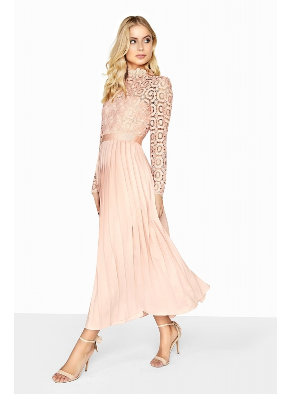 """Plisované midi-long šaty """"Peach princess"""""""