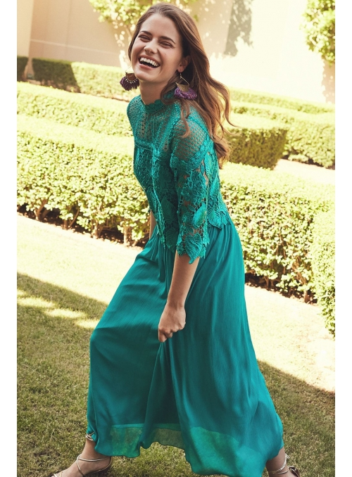 "Pleated midi long dress ""Jungle lace"""