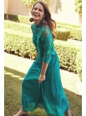 "Pleated midi long dress ""Jungle lace"""