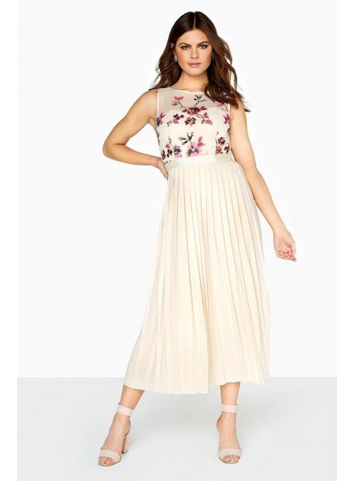 """Pleated midi dress long """"Beige Flower"""""""