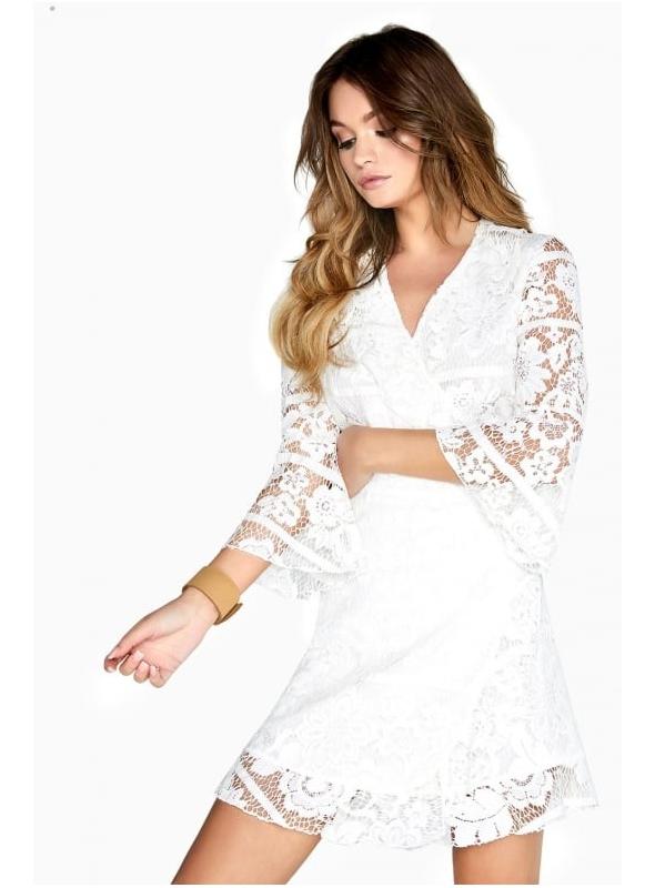 Biele mini šaty s čipkou