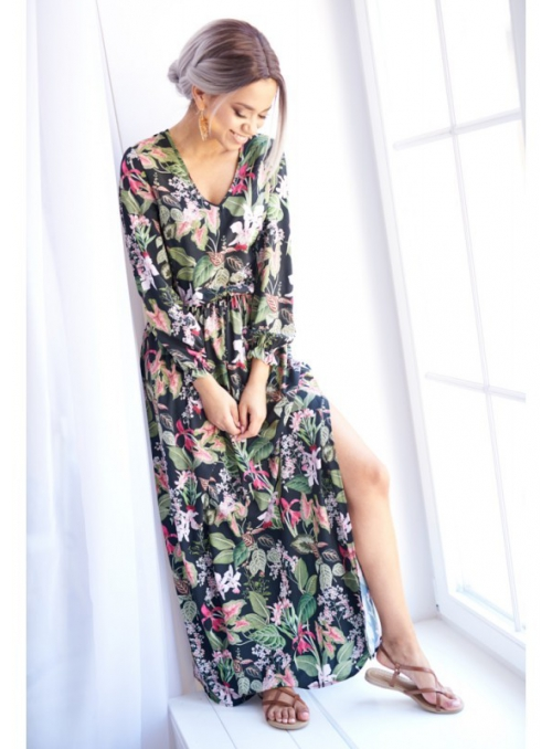 """Šaty """"MAXI ČERNÉ KVĚTY"""" - dámské šaty s květinovým potiskem"""