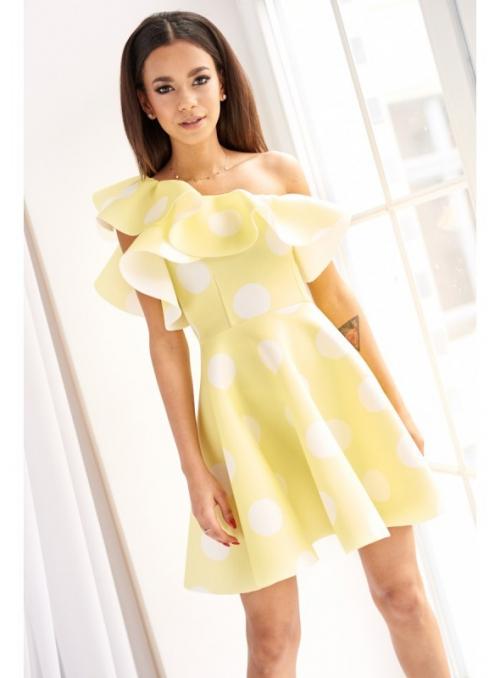 """Krátké šaty """"FRESH YELLOW"""" - s volánem"""