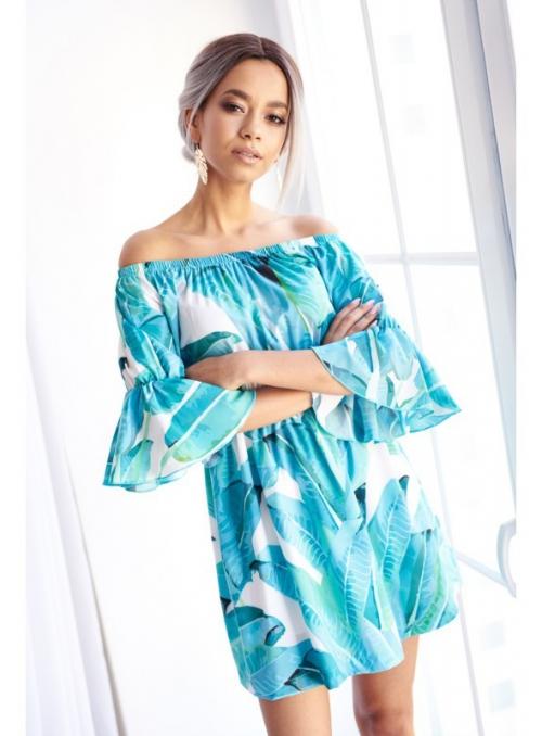 """Šaty """"BLUE JUNGLE""""- vzorované dámske šaty"""